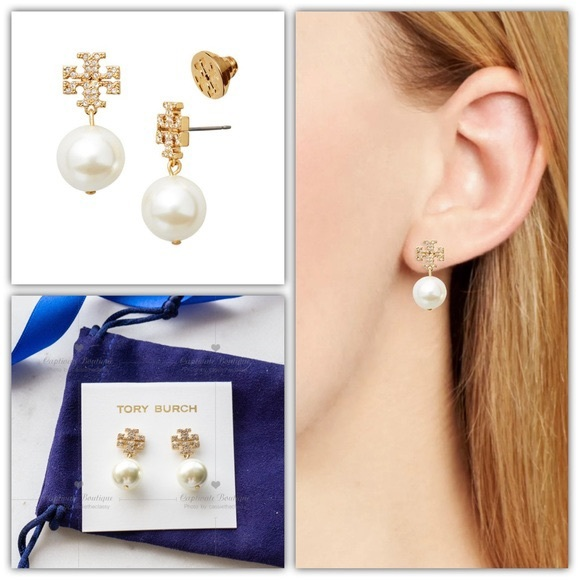 Authentic crystal logo Tory Burch pearl drops gold